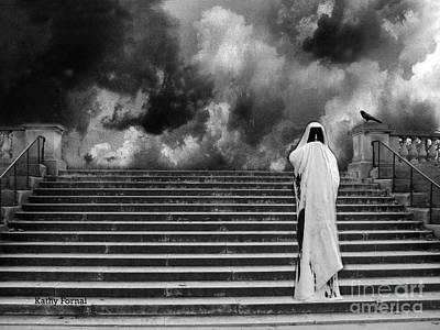 Gothic Fantasy Photograph - Dark Gothic Black White Infrared Grim Reaper On Paris Steps With Black Raven And Storm Cloud by Kathy Fornal