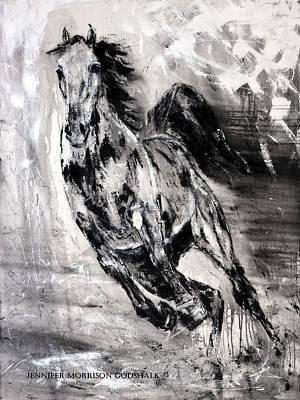 Abstract Horse Painting - Dark Horse Contemporary Horse Painting by Jennifer Godshalk