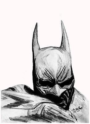 Super Hero Drawings Drawing - Dark Knight by KG Christopher