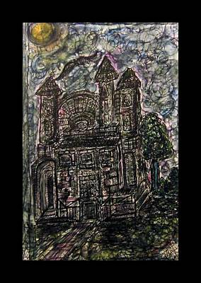 Inktense Drawing - Dark Mansion by Mimulux patricia no No