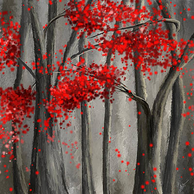 Dark Passion- Red And Gray Art Print by Lourry Legarde