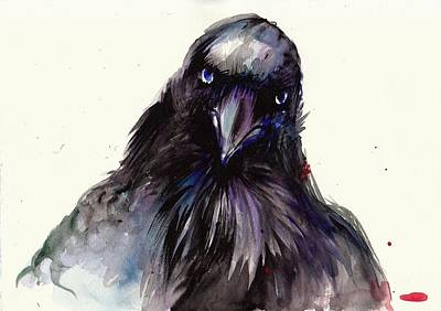 Nature Study Painting - Dark Raven Head Detail - Crow Head by Tiberiu Soos