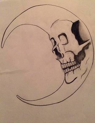 Dark Evil Scary Drawing - Dark Side Of The Moon by Stef Davidson