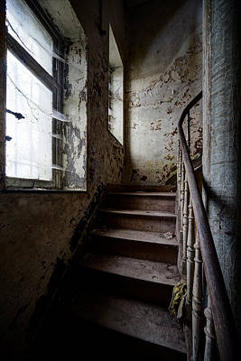 Haunted House Photograph - Dark Stairs Haunted House Urban Exploration by Dirk Ercken