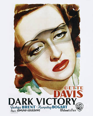 Movie Poster Photograph - Dark Victory Movie Poster - Bogart And Davis by MMG Archive Prints