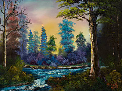 Sawtooth Mountain Art Painting - Waterfall Fantasy by C Steele
