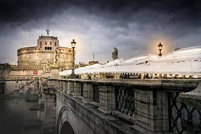Castle Photograph - Dark Winter Evening At Castel Sant'angelo - Rome by Mark E Tisdale