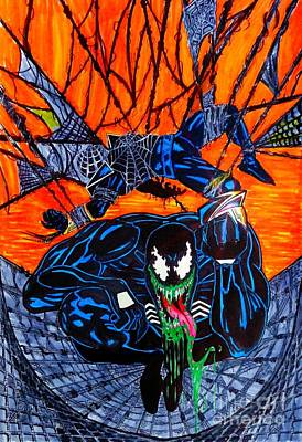 Justin Moore Drawing - Darkhawk Issue 13 Homage by Justin Moore
