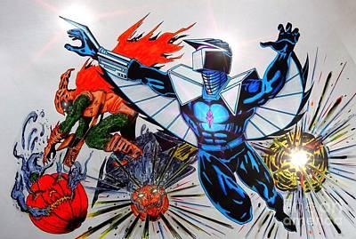 Dc Comics Drawing - Darkhawk Vs Hobgoblin by Justin Moore