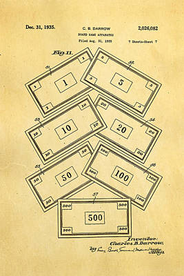 Monopoly Photograph - Darrow Monopoly Board Game 2 Patent Art 1935 by Ian Monk