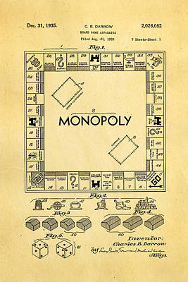 Monopoly Photograph - Darrow Monopoly Board Game Patent Art 1935 by Ian Monk