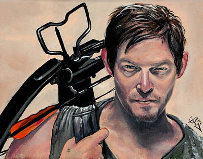 Zombies Painting - Daryl Dixon by Tom Carlton