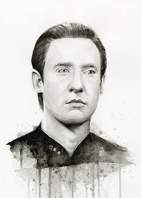 Watercolor Painting - Data Portrait Star Trek Fan Art Watercolor by Olga Shvartsur