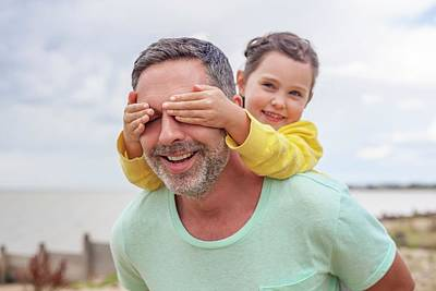 Bonding Photograph - Daughter Covering Father's Eyes by Ian Hooton