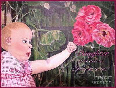 Girl With A Pink Dress Painting - Daughter You Are So Precious To Me  by Kimberlee Baxter