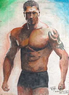 Fists Painting - Dave Batista by GLeaf Jaffna