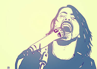 Fighter Drawing - Dave Grohl by Giuseppe Cristiano