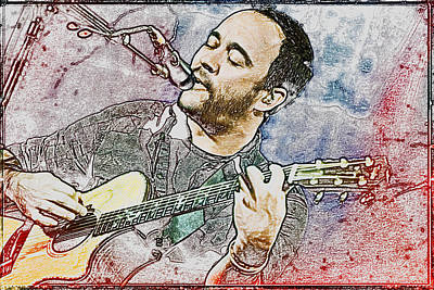 Dave Matthews On Acoustic Guitar 3 Print by Jennifer Rondinelli Reilly - Fine Art Photography