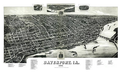 Vintage Map Painting - Davenport - Iowa - 1888 by Pablo Romero
