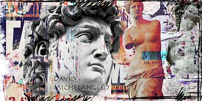 David And Venus Print by Luz Graphic Studio