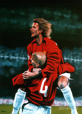 David Beckham And Juan Sebastian Veron Print by Paul Meijering