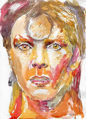 Robert Plant Framed Painting - David Bowie by Marina Sotiriou