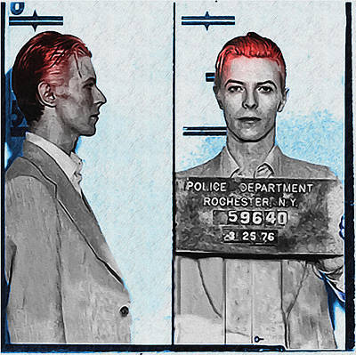 David Bowie Mug Shot Print by Bill Cannon