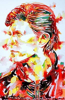 David Bowie Painting - David Bowie Watercolor Portrait.1 by Fabrizio Cassetta