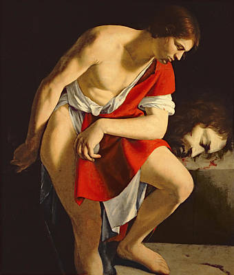 Overcoming Painting - David Contemplating The Head Of Goliath by Orazio Gentileschi