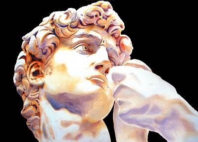 David Face By Michelangelo   Black Print by Jose Espinoza