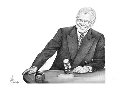 Celebrity Drawing - David Letterman by Murphy Elliott
