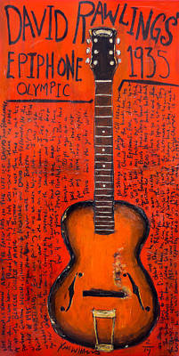 Rawlings Painting - David Rawlings Epiphone by Karl Haglund