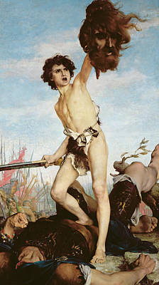 Overcoming Painting - David Victorious Over Goliath by Gabriel Joseph Marie Augustin Ferrier