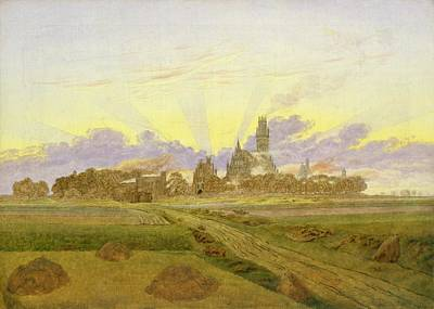 Morning Light Painting - Dawn At Neubrandenburg by Caspar David Friedrich