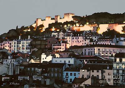 Dawn At St. George Castle Lisbon Print by Linda  Parker