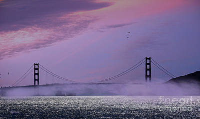Dawn At The Golden Gate Print by Cheryl Young