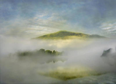 Pink Black Tree Rainbow Photograph - Dawn Over Lake Grasmere by Adrian Campfield