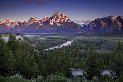 Clearing Photograph - Dawn Over The Tetons by Andrew Soundarajan