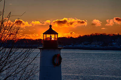 New England Lighthouse Photograph - Dawns Rising Behind The Freznel  by Jeff Folger