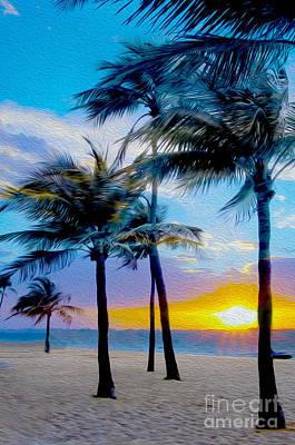 Hawaii Mixed Media - Day At The Beach by Jon Neidert
