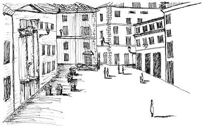 Piazza Drawing - Day In Piazza Di Campitelli by Elizabeth Thorstenson