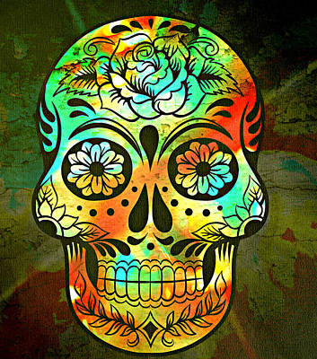 Skull Cards Mixed Media - Day Of The Dead by Ally  White