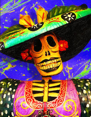 Day Of The Dead Fashion Print by Ron Regalado