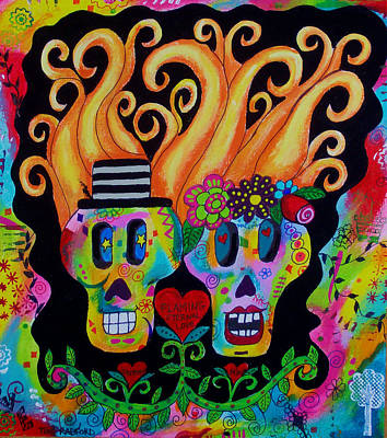 Saint-lo Painting - Day Of The Dead Forever Love by Tori Radford
