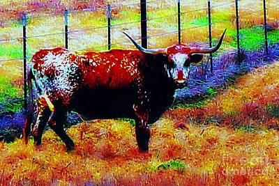 Cattle Drive Digital Art - Day Of The Dead Longhorn by Bonnie Chapa