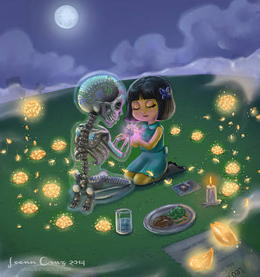 Day Of The Dead Lovesong  Print by Leena Cruz