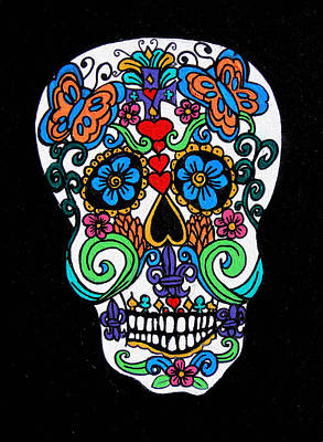 Saint-lo Painting - Day Of The Dead Skull by Genevieve Esson