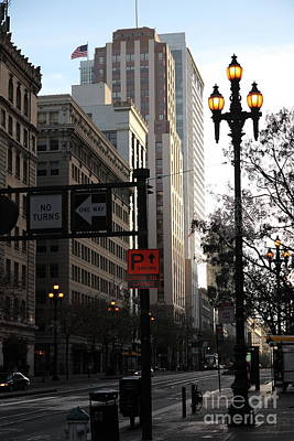 Daybreak Over San Francisco Market Street - 5d20613 Print by Wingsdomain Art and Photography