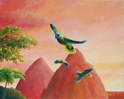 St. Lucia Parrot Painting - Day's End - St Lucia Parrots by Christopher Cox