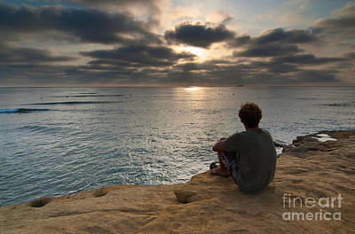 Contemplating Photograph - Day's End - Enjoying The Views Of Sunset Cliffs. by Jamie Pham